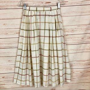 Vintage Linen A-line Windowpane Skirt